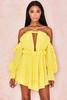 Serenity Yellow Off Shoulder Ruffled Mini Dress