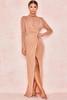 Alala Tan Sheer Sparkle Maxi Dress