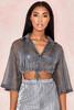 Emmanuella Grey Cropped Shirt