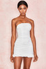 Rema White Cotton Ruched Strapless Dress