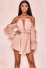 Serenity Blush Off Shoulder Ruffled Mini Dress