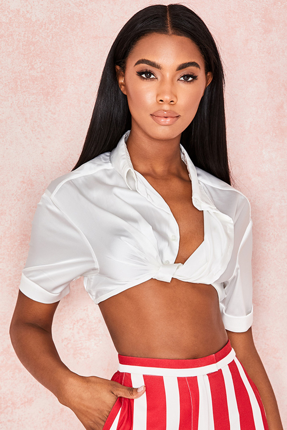 Miguela White Satin Cropped Shirt