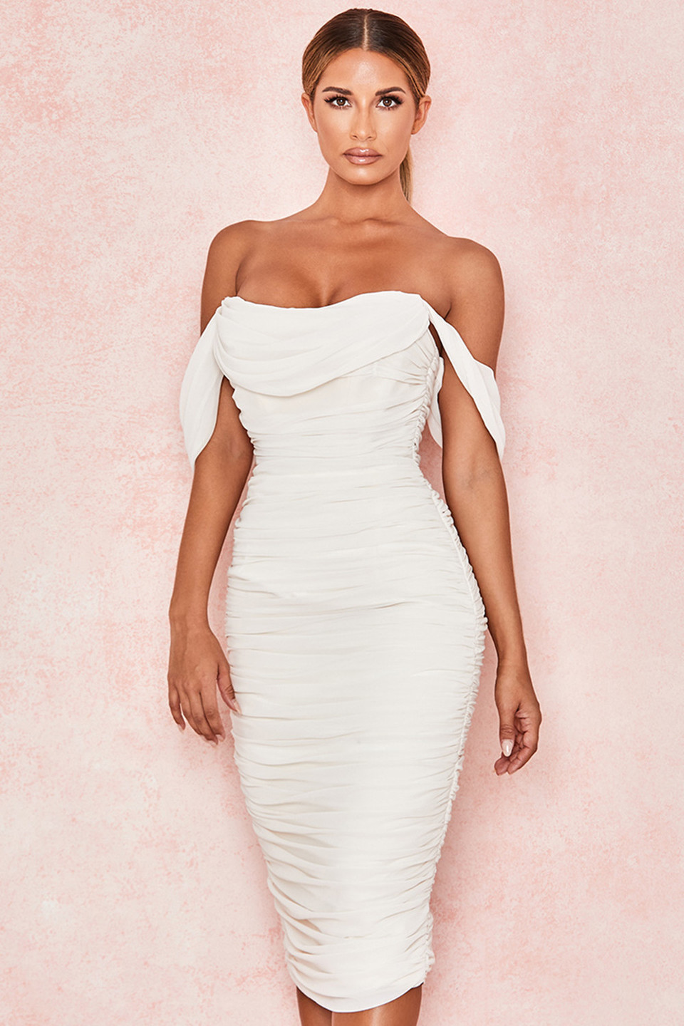 Carlotta Ivory Ruched Draped Chiffon Dress