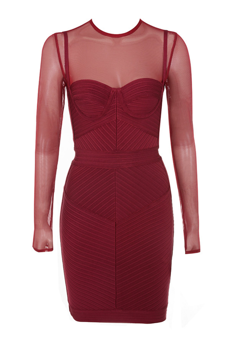 Noelle Wine Bandage Mesh Dress