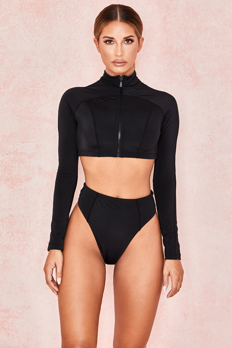 Oracle Black Long Sleeved Rash Guard Bikini