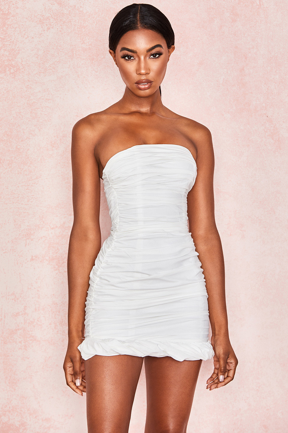 Rema White Cotton Ruched Strapless Dress