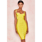 Jianna Lemon Corset Bandage Dress