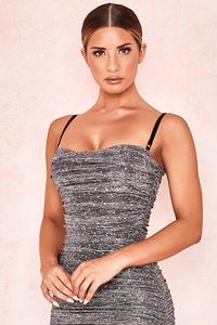 Arinka Black Metallic Sparkling Mesh Bodysuit