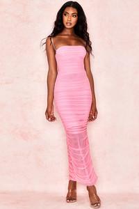 Fornarina Pepto Pink Organza Mesh Maxi Dress