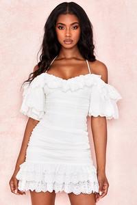 Pashenka White Gathered Broderie Anglais Dress