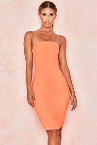 Rinah Orange Strapless Stretch Crepe Mini Dress