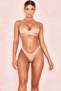 Wildness Pale Metallic Gold Scoop Bikini