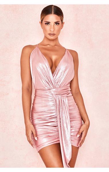 Ciara Metallic Pink Wrap Cami Mini Dress