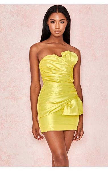 Margeurite Yellow Satin Strapless Dress