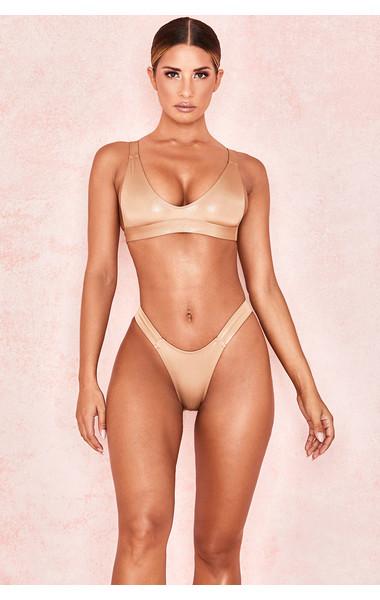 Wildness Pale Metallic Gold Scoop Bikini