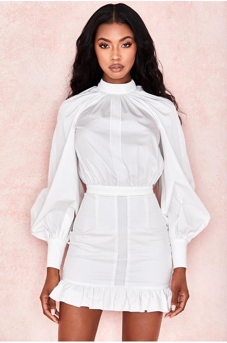 Sheryll White Ruffle Mini Dress