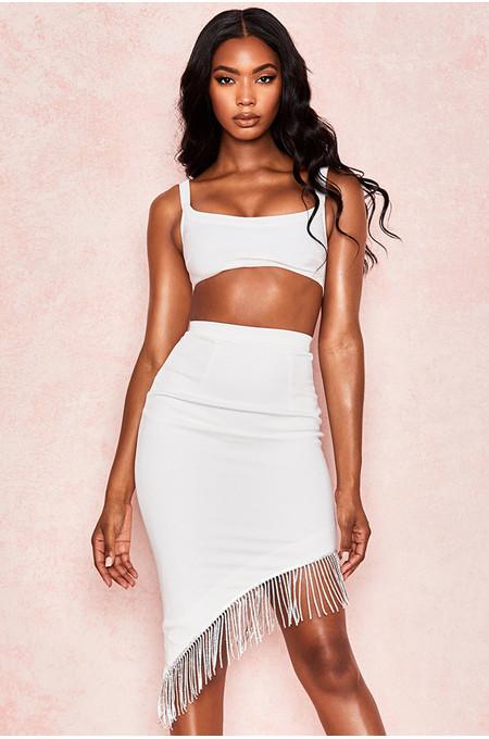 Zoia White Crepe Crystal Skirt