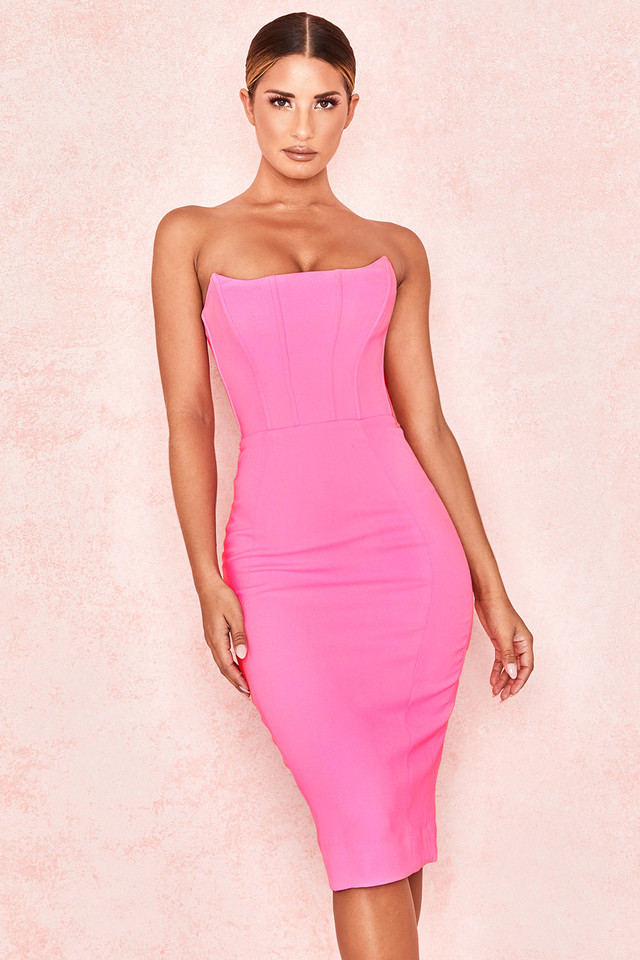 Niaz Pepto Pink Crepe Corset Dress
