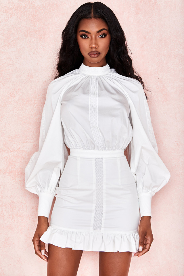 Sheryll White Ruffle Mini Dress