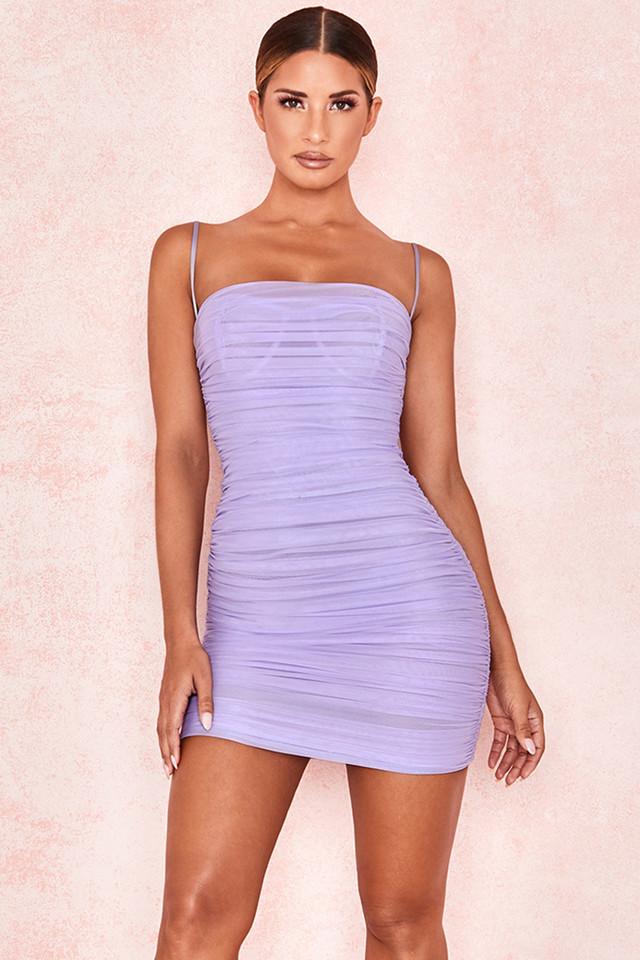 Ella Violet Ruched Organza Mesh Mini Dress
