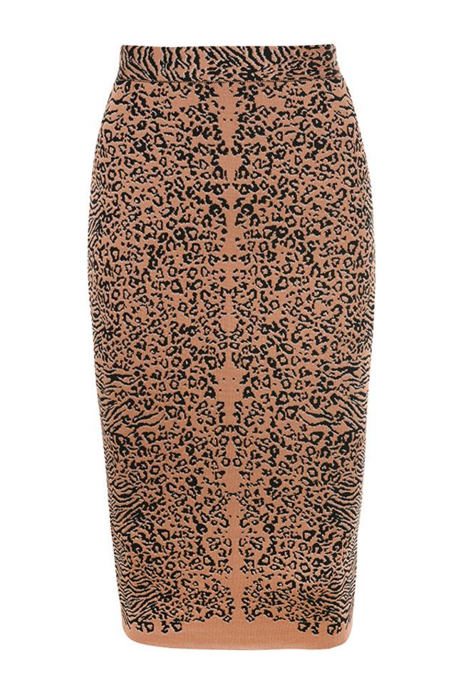 Giannelli Leopard Print Midi Length Bandage Skirt