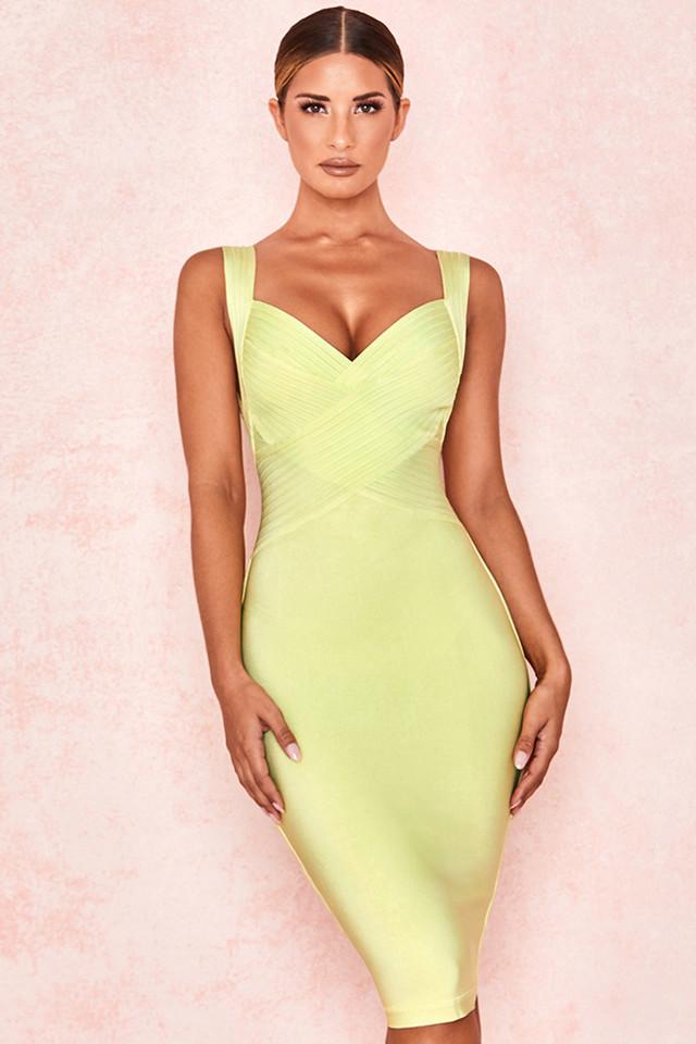 Jantje Pale Lime Cross Bust Bandage Dress