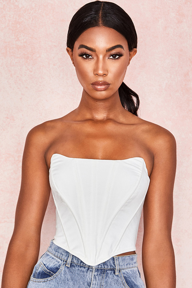 Juana White Shaped Top Boned Corset