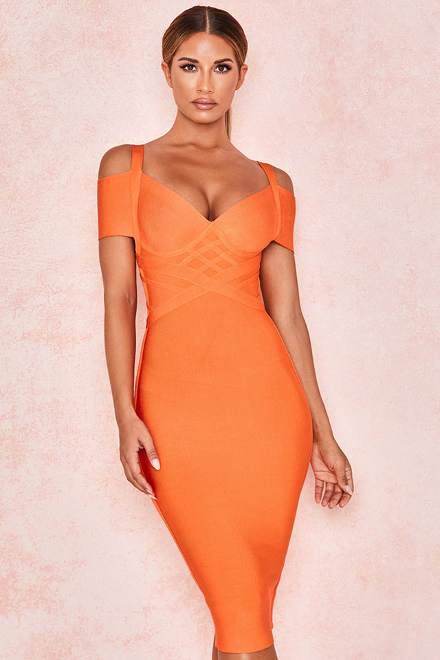 Marianna Orange Off Shoulder Bandage Dress