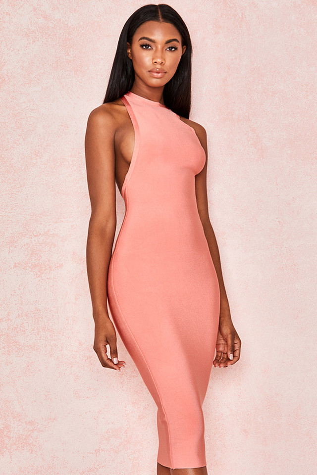 Yasmine Peach Cut Out Back Bandage Dress