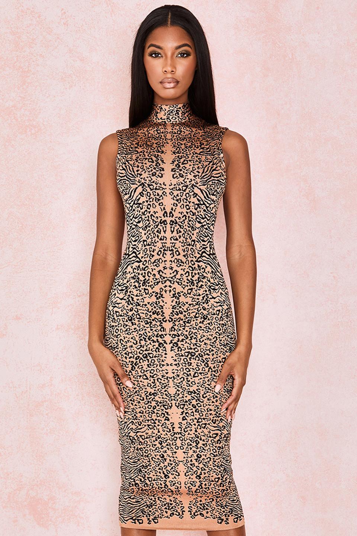 Flavia Leopard Print Bandage Maxi Dress