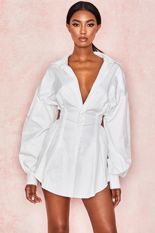 Maddalena White Cinched Waist Shirt Dress