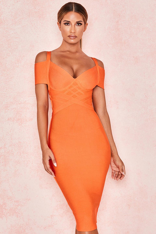 Marianna Orange Off Shoulder Bandage Dress