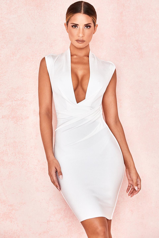 Selune White Sleeveless Draped Bandage Dress