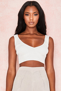 Bettina Milk Cropped Rib Knit Top