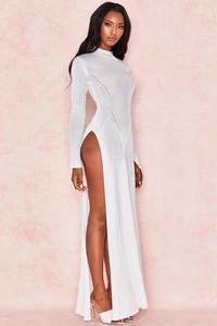 Orianna Milk Fine Rib Maxi Dress