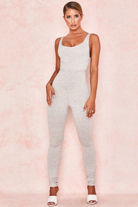 Zinnia Stone Marl Waist Cinching Jumpsuit