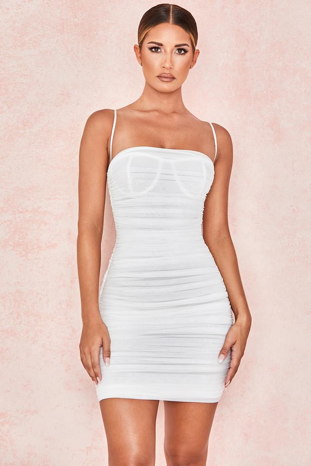 Ella White Ruched Organza Mesh Mini Dress