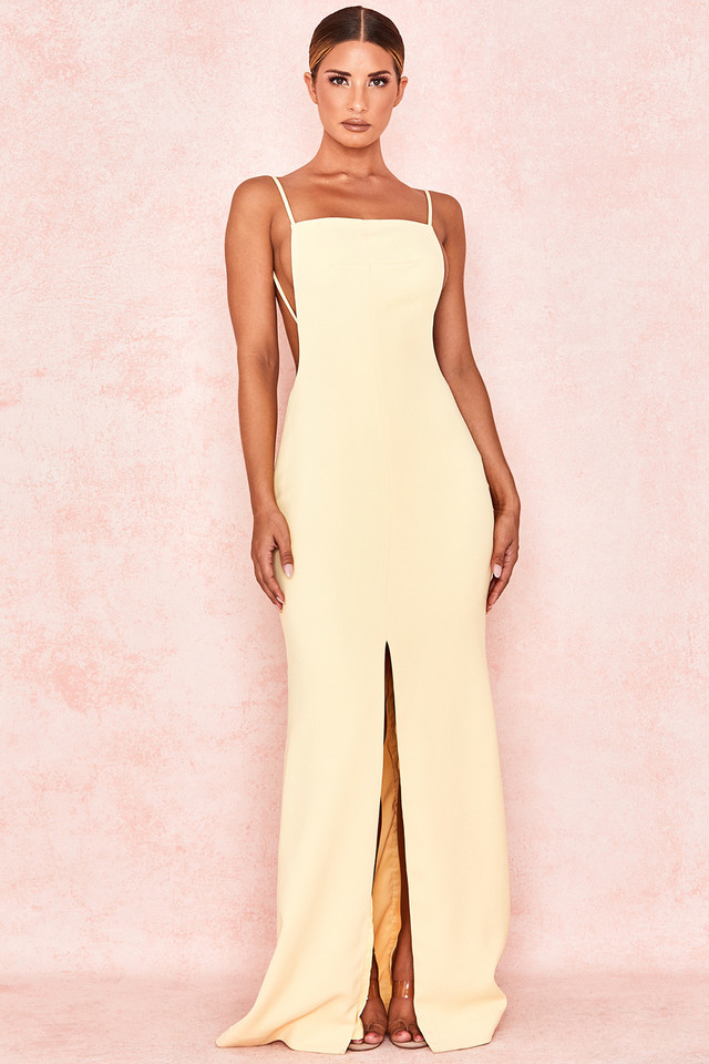 Alix Lemon Backless Maxi Dress