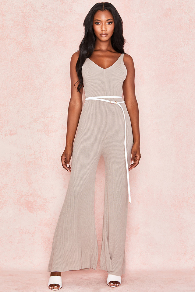 Evana Stone Ribbed Knit Jumpsuit