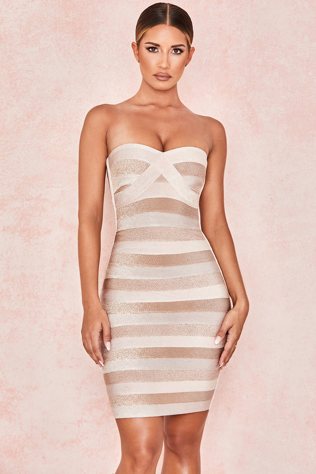 Harriet Tonal Tan Strapless Bandage Dress
