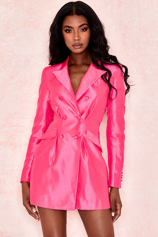 Laurica Cerise Satin Blazer Dress