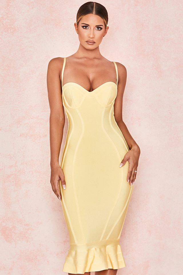 Martine Lemon Fluted Bustier Bandage Dress