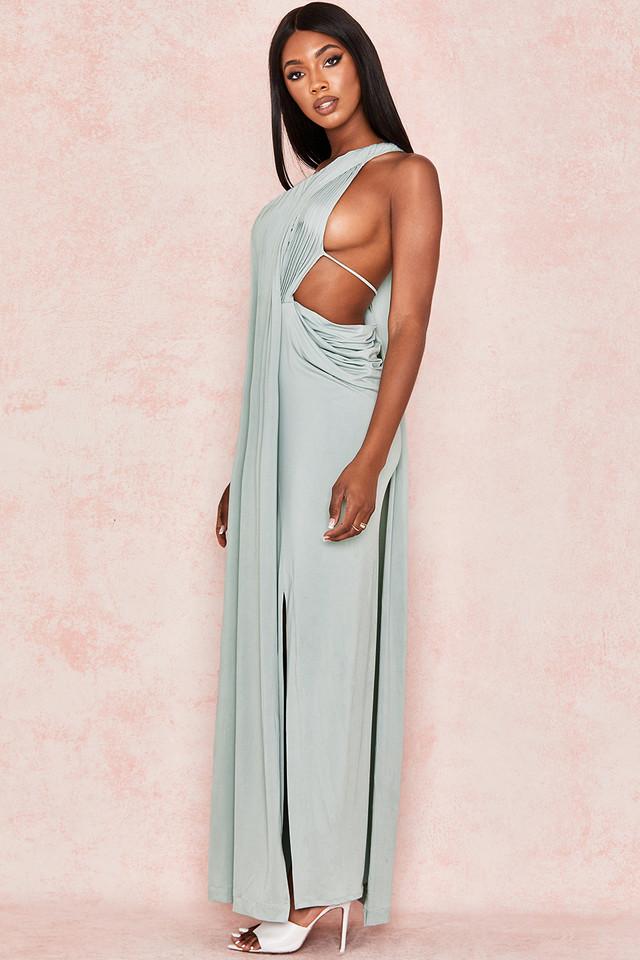 Lolita Pistachio Draped Cut Out Maxi Dress