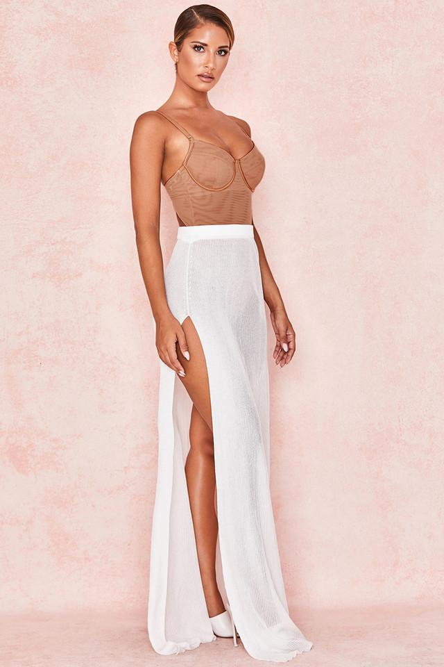 Simeona Milk Sheer Rib Maxi Skirt