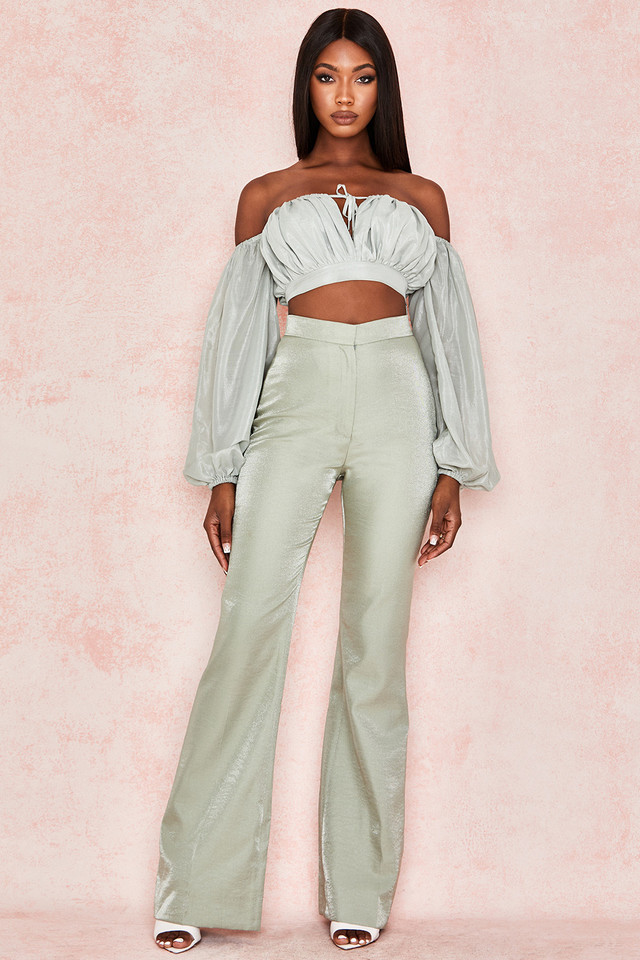 Vania Pistachio Bell Bottom Trousers