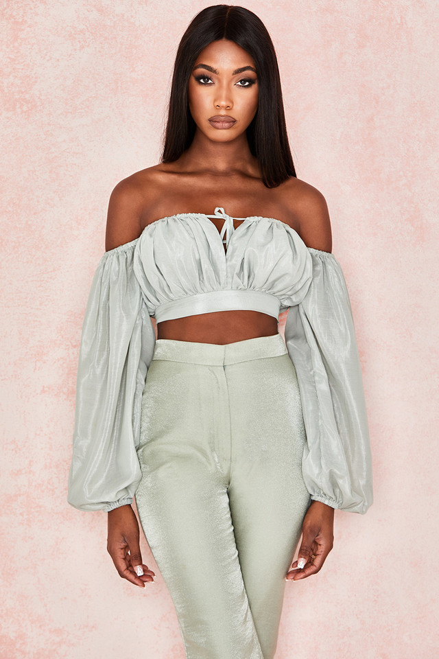 Ola Pistachio Off Shoulder Top