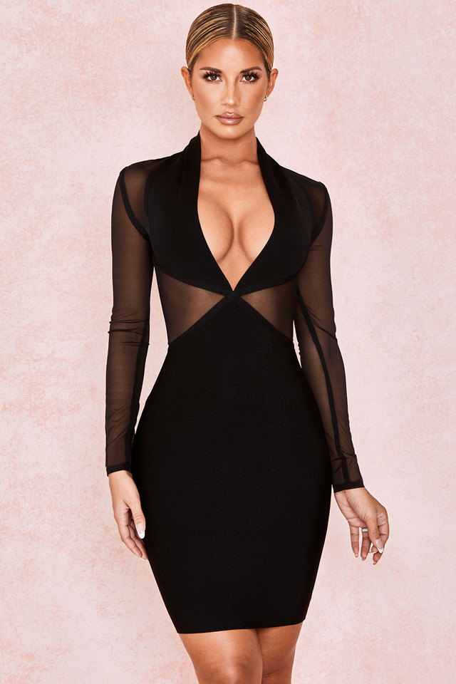 Safran Black Bandage Mesh Dress