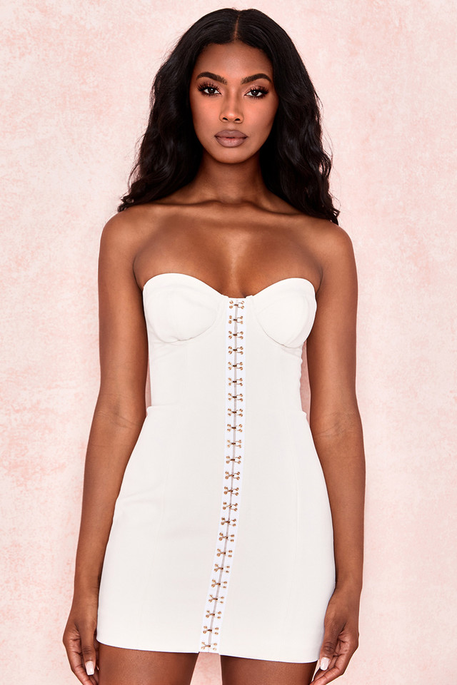 Stevie Cream Strapless Bustier Dress