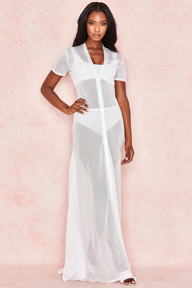 Tanne Milk Semi Sheer Maxi Dress