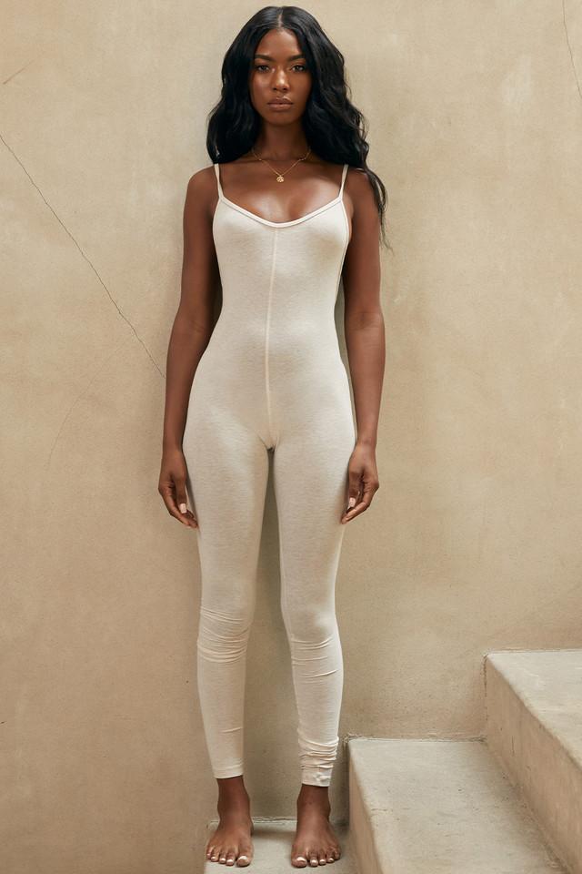 Zahara Milk Marl Low Back Jumpsuit